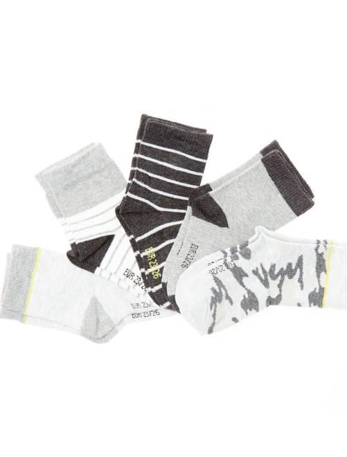 Pack de 5 pares de calcetines de algodón orgánico                             militar/a rayas
