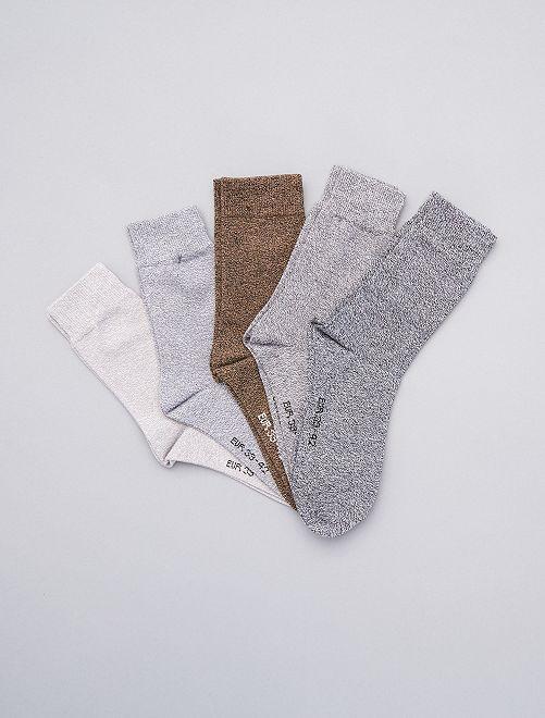 Pack de 5 pares de calcetines de algodón torcido                                                     GRIS