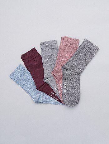 Tallas grandes hombre - Pack de 5 pares de calcetines de algodón torcido - Kiabi