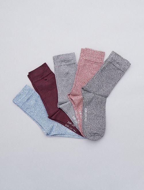 Pack de 5 pares de calcetines de algodón torcido                     NEGRO