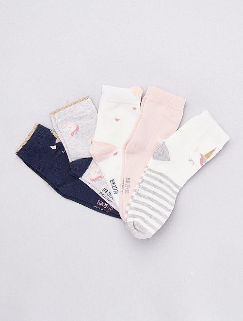 Pack de 5 pares de calcetines de 'animal'                                 AZUL