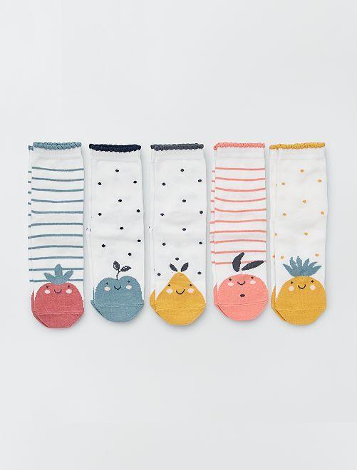 Pack de 5 pares de calcetines de 'animal'                                         BLANCO
