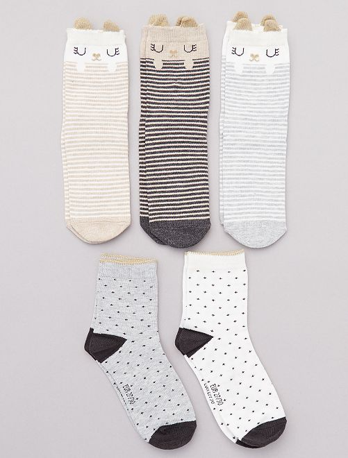 Pack de 5 pares de calcetines de 'animal'                                                     GRIS