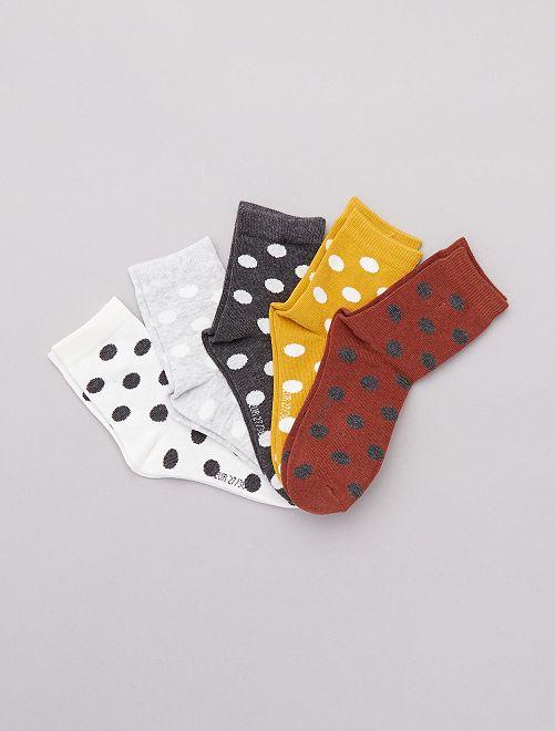 Pack de 5 pares de calcetines de lunares                             BEIGE