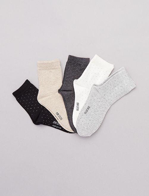 Pack de 5 pares de calcetines de lunares                             GRIS