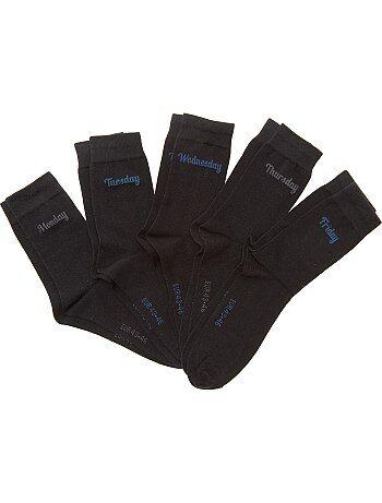 Hombre talla S-XXL - Pack de 5 pares de calcetines 'día de la semana' - Kiabi