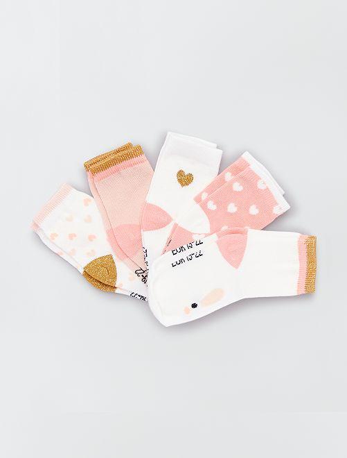 Pack de 5 pares de calcetines eco-concepción                                                                                                                 conejo rosa