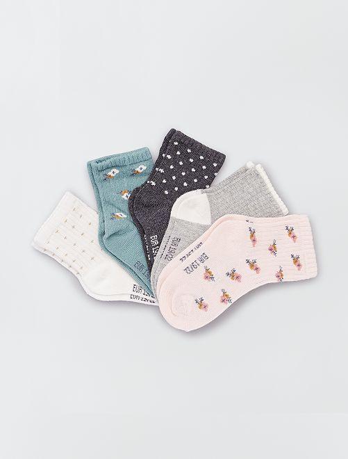 Pack de 5 pares de calcetines eco-concepción                                                                 flores