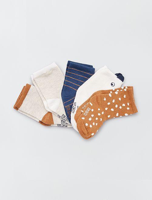Pack de 5 pares de calcetines eco-concepción                                                                 MARRON
