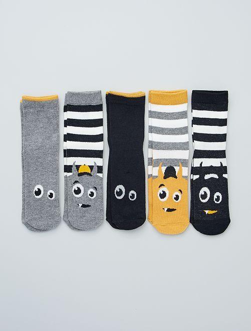 Pack de 5 pares de calcetines estampados                                                                                                     AMARILLO