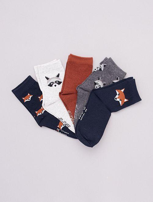 Pack de 5 pares de calcetines estampados                                                                 AZUL