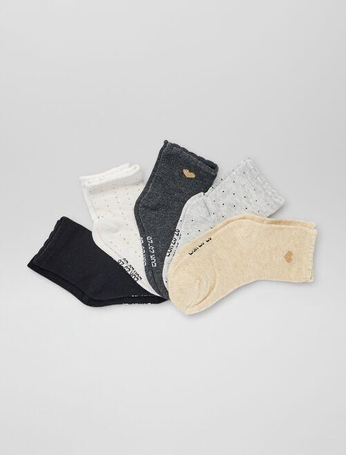 Pack de 5 pares de calcetines estampados                             BLANCO