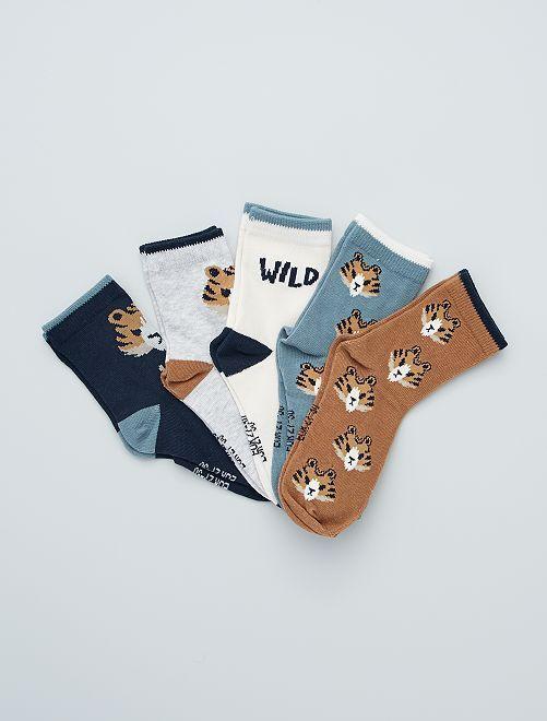 Pack de 5 pares de calcetines estampados                                                                                                     MARRON