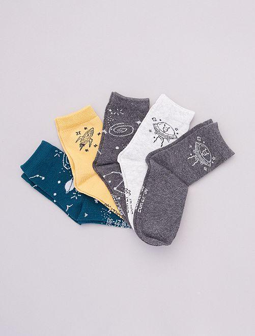 Pack de 5 pares de calcetines estampados                                                                 NEGRO