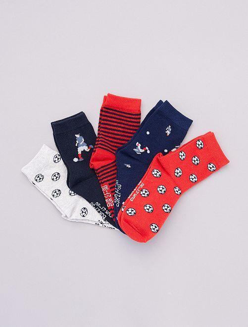 Pack de 5 pares de calcetines estampados                                                                                                     ROJO