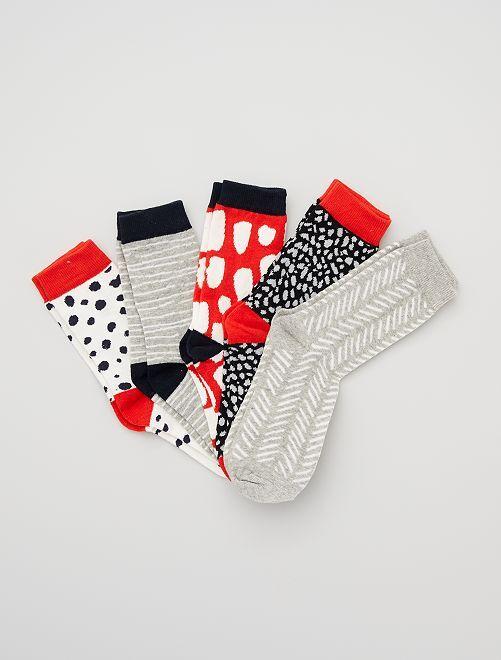 Pack de 5 pares de calcetines estampados                                         rojo/gris