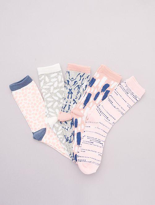 Pack de 5 pares de calcetines estampados                                         rosa/azul