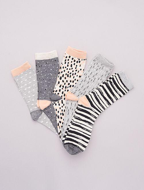 Pack de 5 pares de calcetines estampados                                         rosa/gris