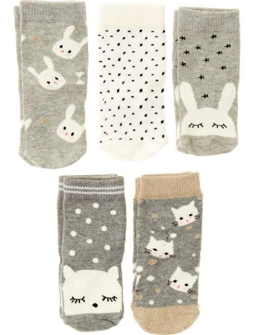 Pack de 5 pares de calcetines                             gris Bebé niña