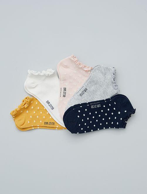 Pack de 5 pares de calcetines invisibles                                         AMARILLO