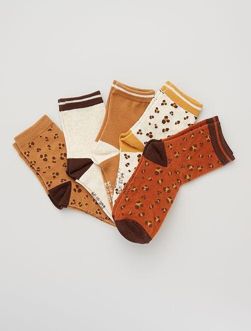 Pack de 5 pares de calcetines 'leopardo'                                                     MARRON