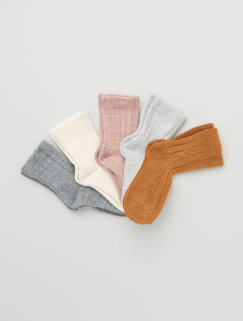 Pack de 5 pares de calcetines 'leopardo'                                                     ROSA