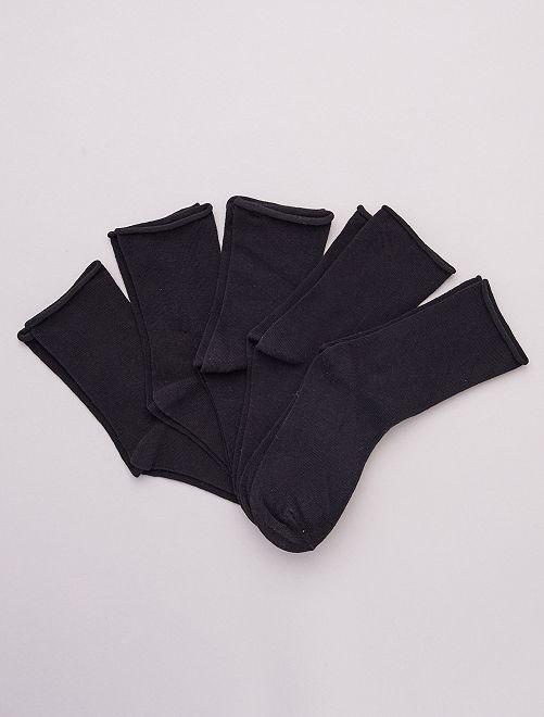 Pack de 5 pares de calcetines lisos de algodón orgánico                                         negro