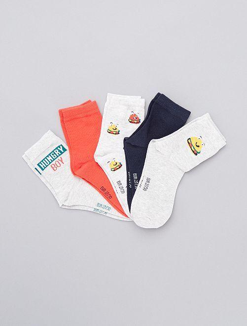Pack de 5 pares de calcetines                                                                                         NARANJA