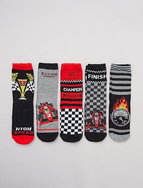 Pack de 5 pares de calcetines 'rallye'                                         NEGRO