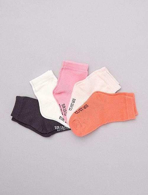 Pack de 5 pares de calcetines                                         rosa Bebé niña