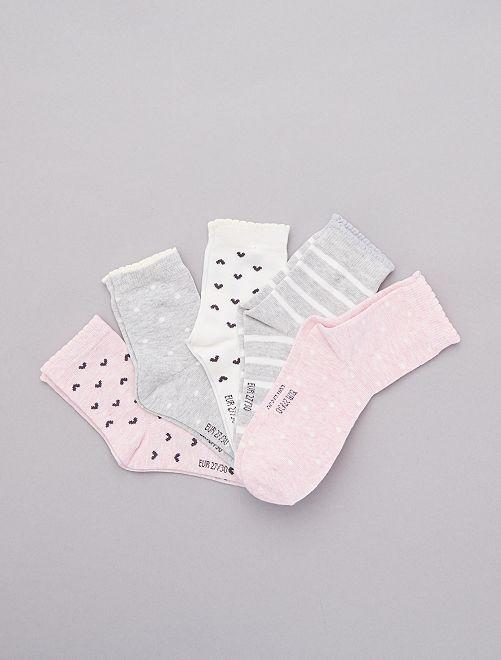 Pack de 5 pares de calcetines                             ROSA