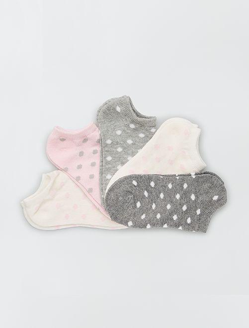 Pack de 5 pares de calcetines                                         rosa/gris