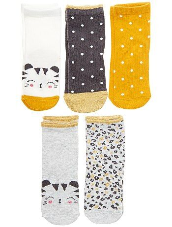 Niña 0-36 meses - Pack de 5 pares de calcetines 'tigre' - Kiabi