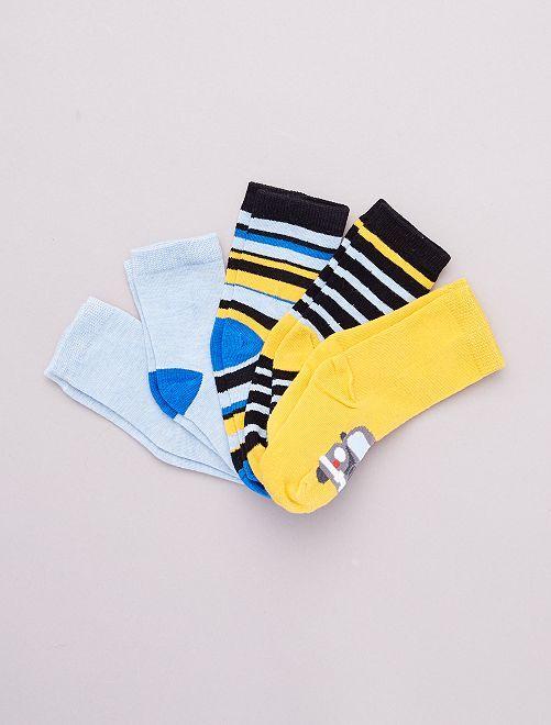 Pack de 5 pares de calcetines 'vehículos'                                         AMARILLO