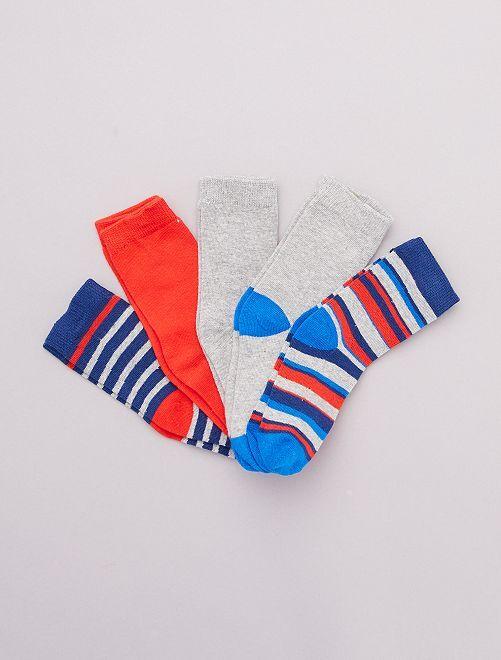Pack de 5 pares de calcetines 'vehículos'                                         rojo/azul