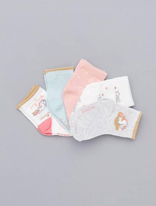Pack de 5 pares estampados                             BLANCO Bebé niña