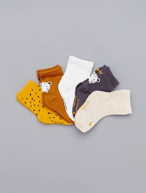 Pack de 5 pares estampados                                 GRIS Bebé niña