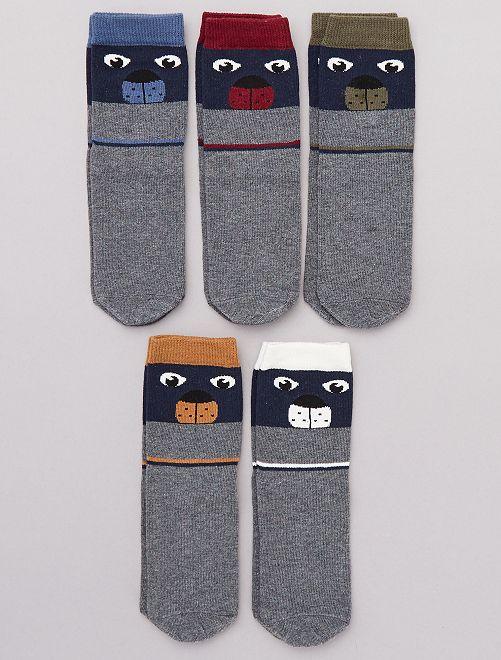 Pack de 5 pares 'oso'                                                                 GRIS Chico