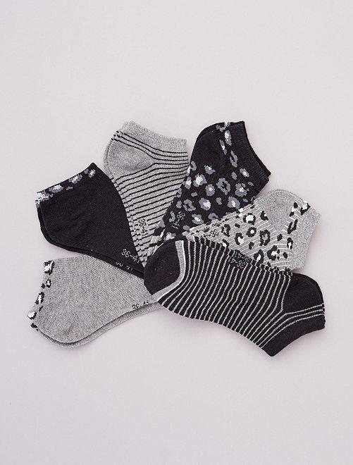 Pack de 6 pares de calcetines bajos                                         blanco/gris