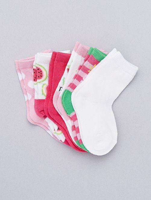 Pack de 6 pares de calcetines                                         BLANCO Bebé niña