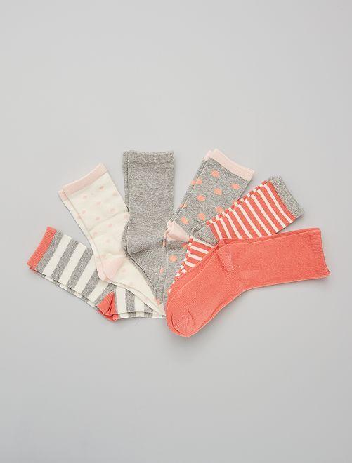 Pack de 6 pares de calcetines                                         rosa/gris