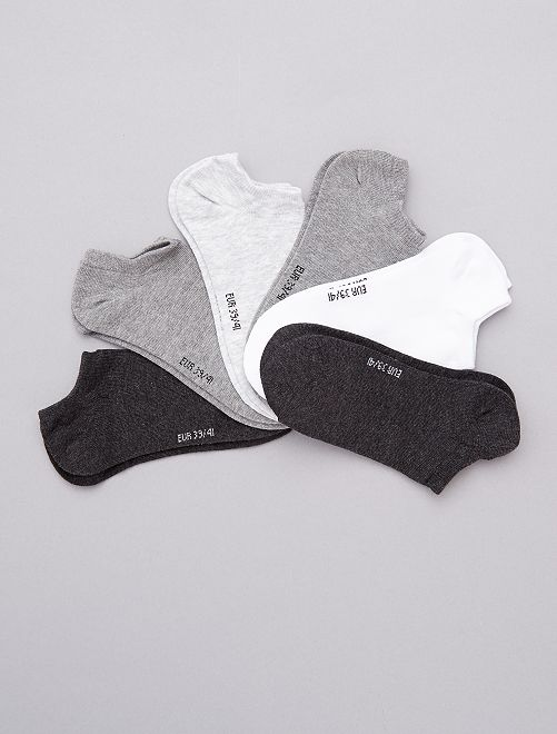 Pack de 6 pares de calcetines tobilleros                                                                                         antractita/gris/blanco