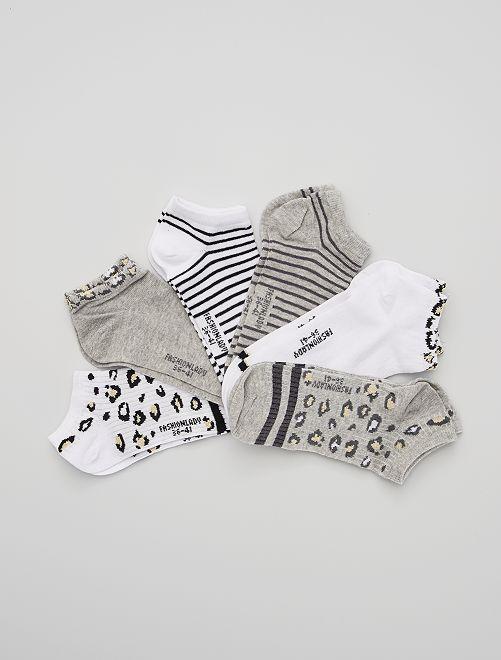 Pack de 6 pares de calcetines tobilleros estampados                             blanco/gris