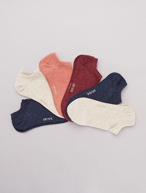 Pack de 6 pares de calcetines tobilleros                                                                                         ROJO