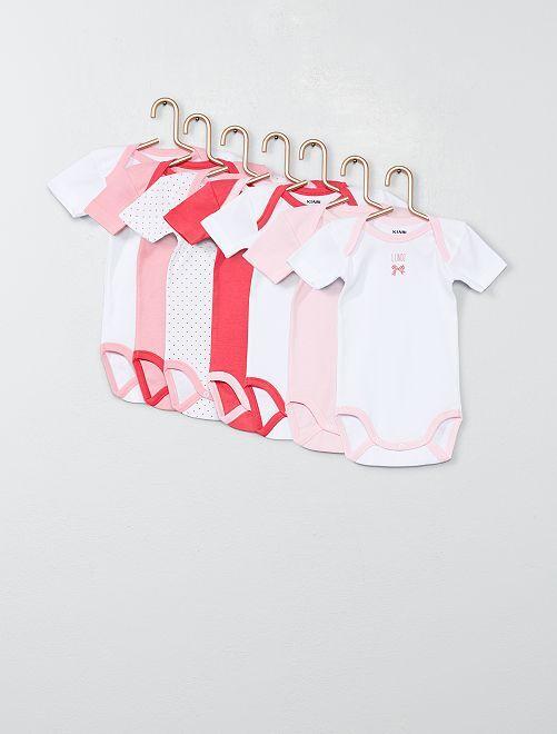 Pack de 7 bodis de manga corta                             rosa/blanco Bebé niña