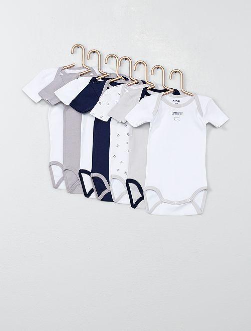 Pack de 7 bodis estampados                             azul/blanco
