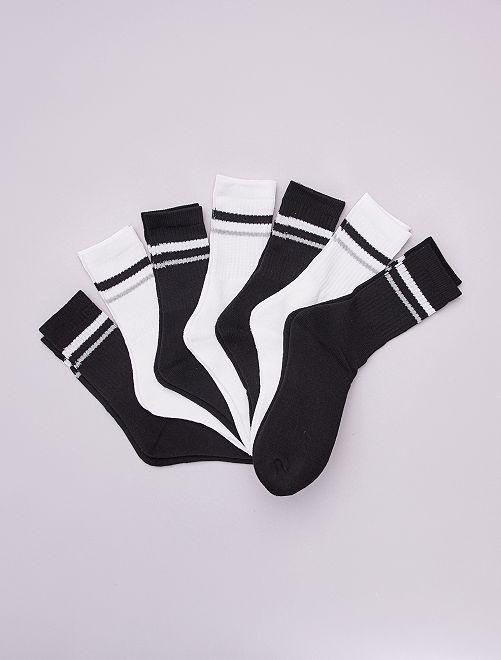 Pack de 7 pares de calcetines de tenis                             NEGRO