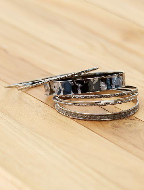 Pack de 7 pulseras rígidas                             negro plata Mujer talla 34 a 48