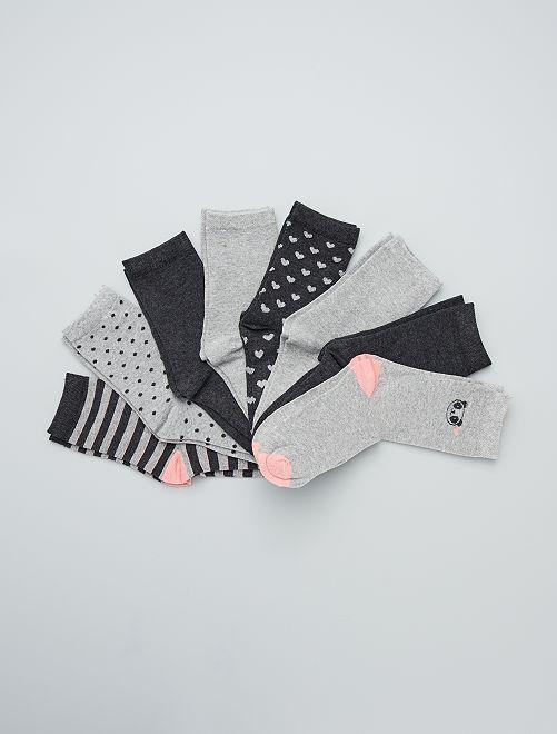 Pack de 8 pares de calcetines                             GRIS