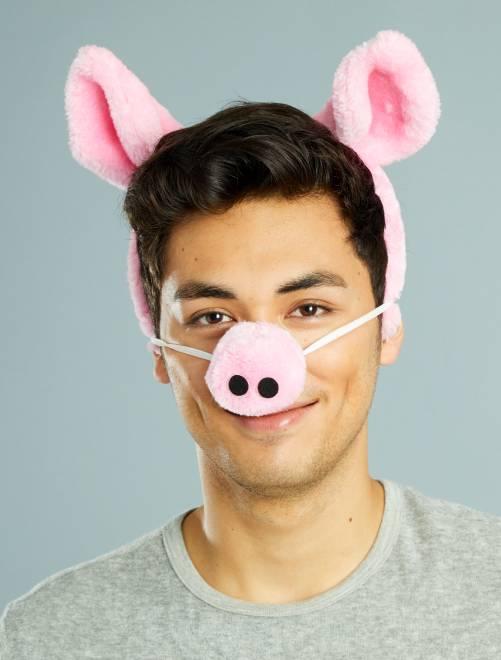 Pack de diadema y nariz de cerdo                             rosa